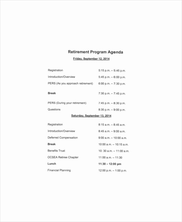 Retirement Party Program Template Awesome 31 Agenda Examples and Templates
