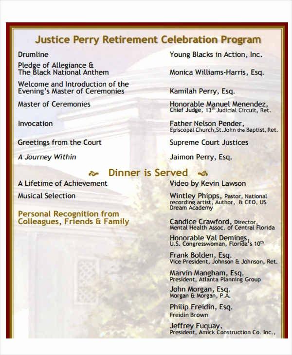 Retirement Party Program Template Awesome 8 Retirement Program Samples & Templates