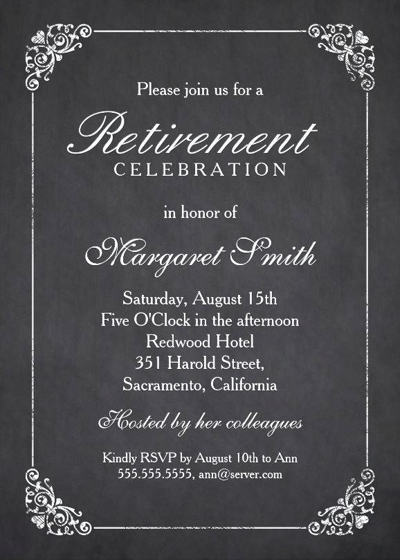 Retirement Party Program Template Luxury Elegant Chalkboard Retirement Party Invitation Template