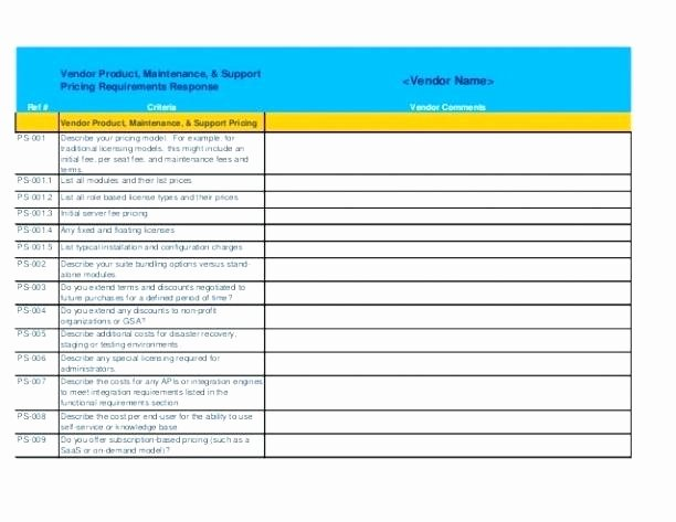 Rfp Evaluation Template Excel Inspirational Rfp Template Excel Template Excel 7 Parison Project