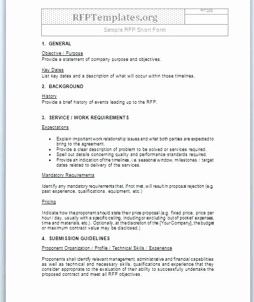 Rfp Evaluation Template Excel New Request for Proposal Templates In Ms Word and Excel