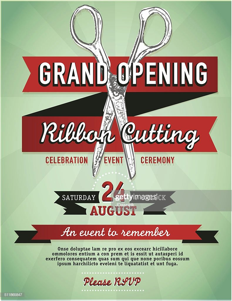 Ribbon Cutting Invite Template Awesome Ribbon Cutting Grand Opening with Scissors Invitation