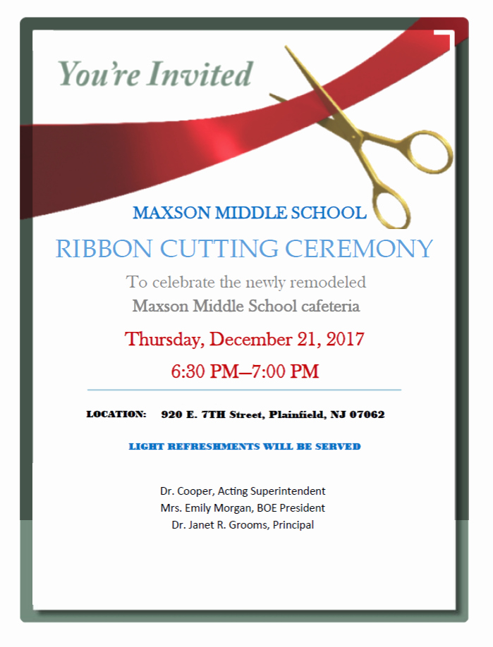 Ribbon Cutting Invite Template Beautiful Ribbon Cutting Ceremony at Plainfield S Maxson Middle