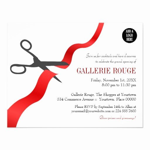 Ribbon Cutting Invite Template Elegant Simple Red Ribbon Cutting Grand Opening Announcement
