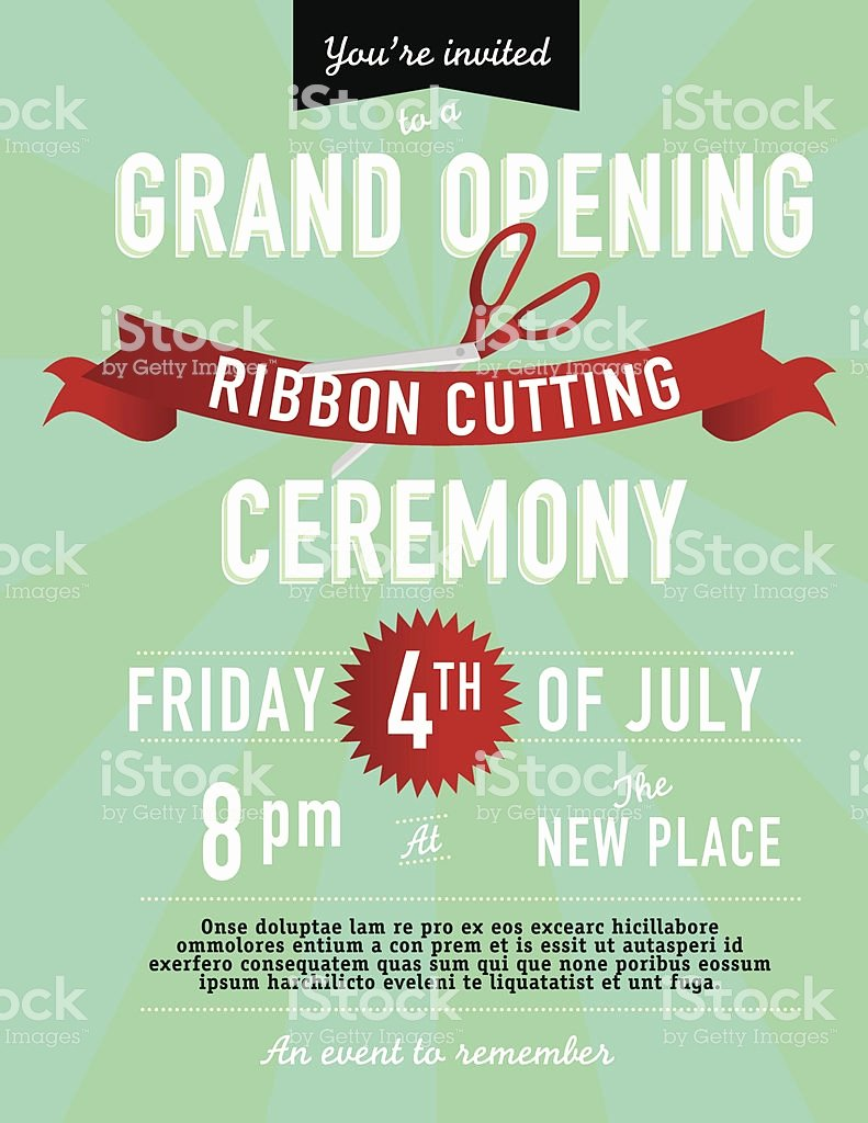Ribbon Cutting Invite Template Inspirational Grand Opening Ribbon Cutting Invitation Design Template