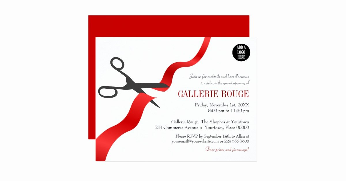 Ribbon Cutting Invite Template New Simple Red Ribbon Cutting Grand Opening Card