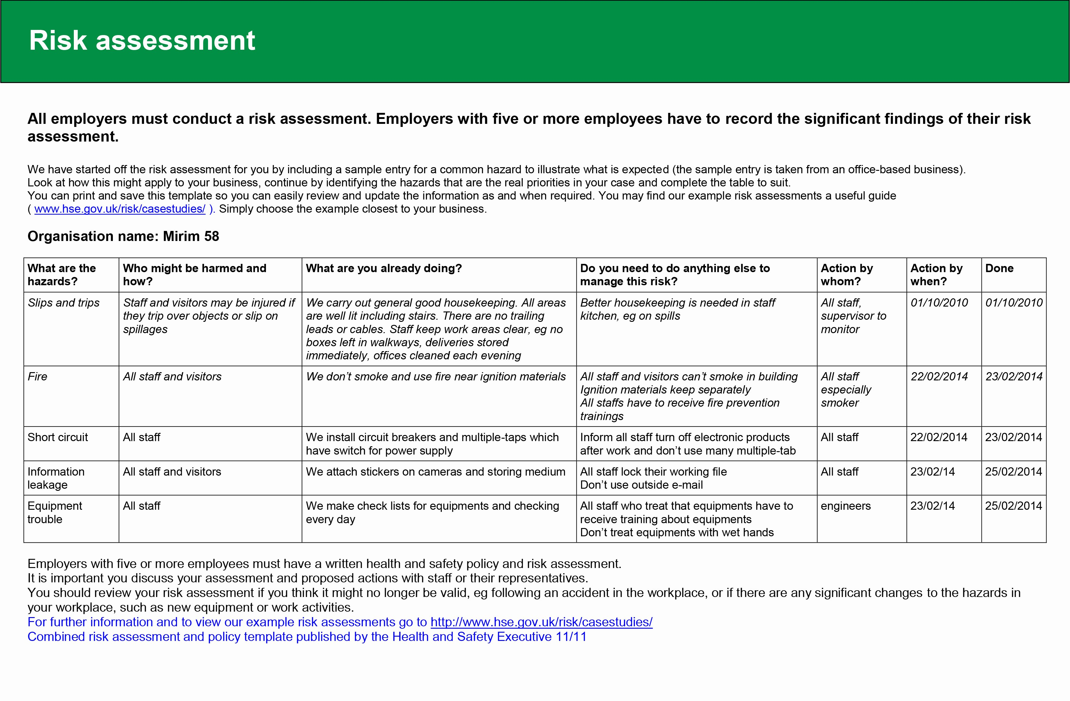Risk assessment Report Template Awesome Task2 – 2014mirimstudent58