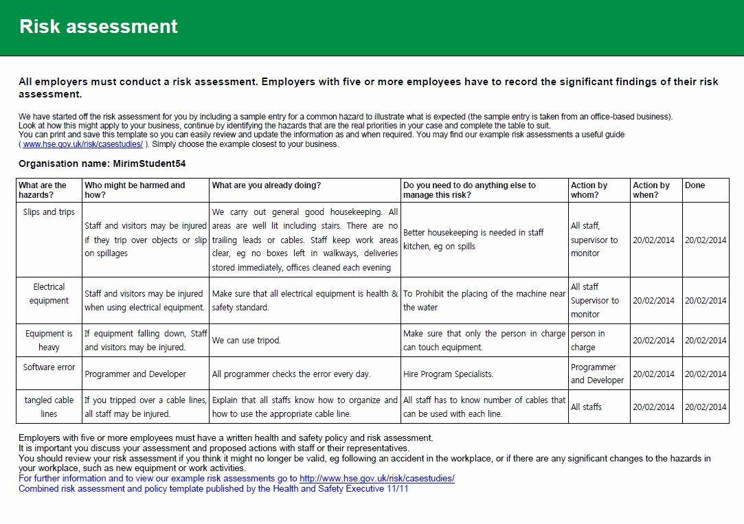 Risk assessment Report Template Best Of Health and Safety Implications Risk assessment Report