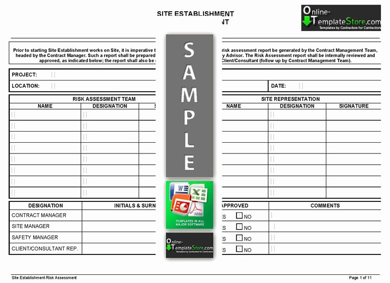 Risk assessment Report Template New Project Management forms