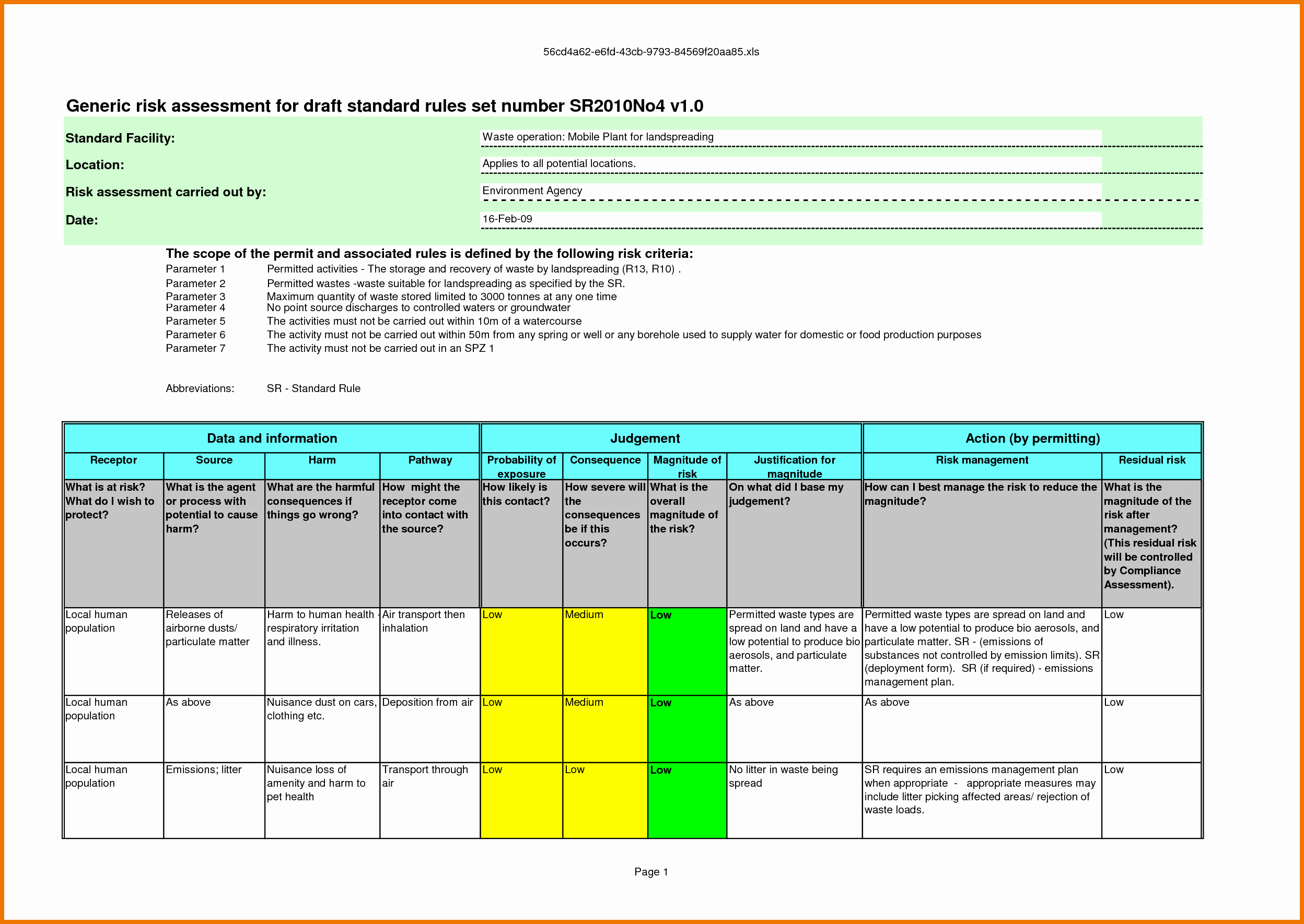 Risk assessment Template Excel Beautiful Risk assessment Template Excel