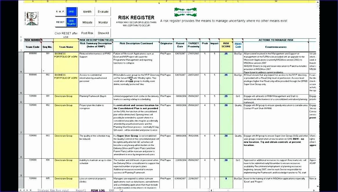 Risk assessment Template Excel Beautiful Risk Register Template Project Log Excel – Bbfinancialsfo