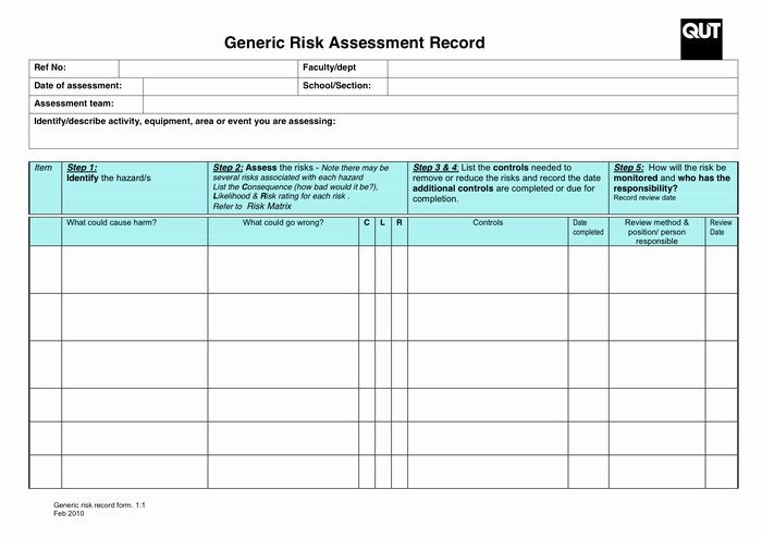 Risk assessment Template Excel Elegant 6 Risk assessment forms – Word Templates