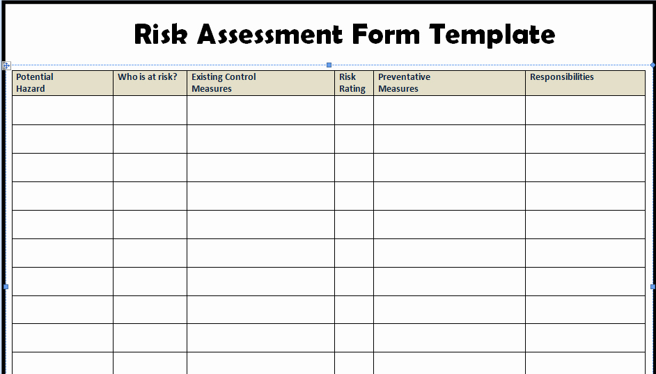 Risk assessment Template Excel Fresh Risk assessment form Templates In Word Excel Project