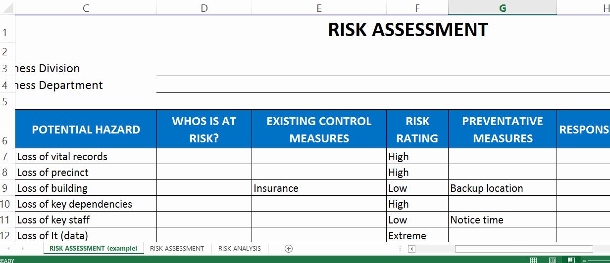 Risk assessment Template Excel Fresh Risk assessment Template Excel