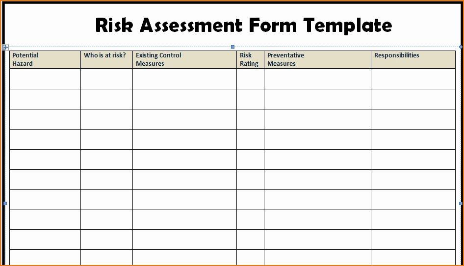 Risk assessment Template Excel Fresh Risk assessment Template