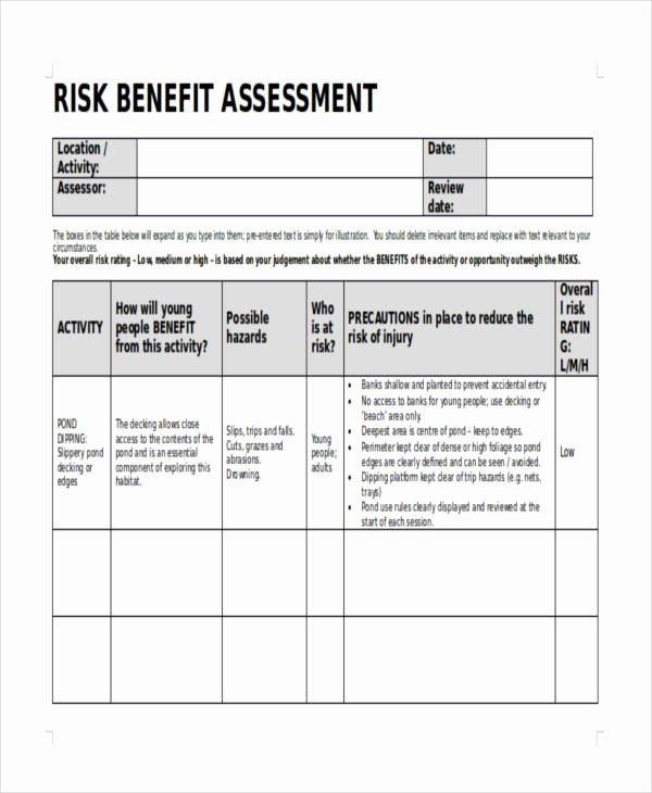 Risk Benefit Analysis Template Luxury Risk assessment form Sample Design Templates