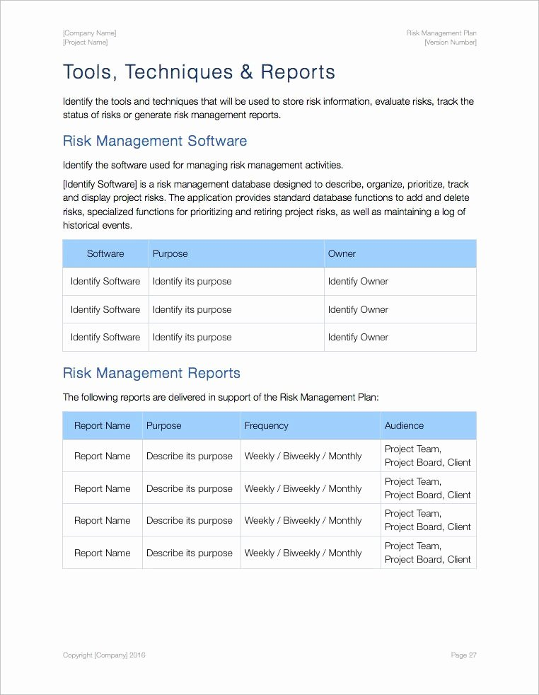 Risk Management Plan Template Best Of Risk Management Plan Template Apple Iwork Pages Numbers