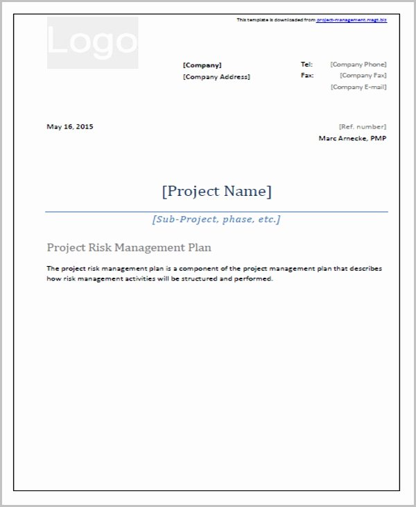 Risk Management Plan Template New 42 Management Plan Templates Pdf Word