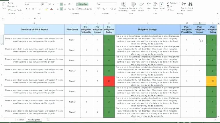 Risk Management Template Excel Beautiful the Risk Register Log Be Es Be Included In Project