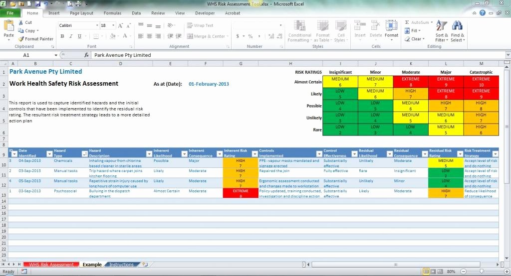 Risk Matrix Template Excel New Risk assessment Template Excel