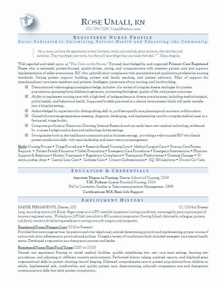 Rn Resume Template Free Awesome Nursing Resume Sample