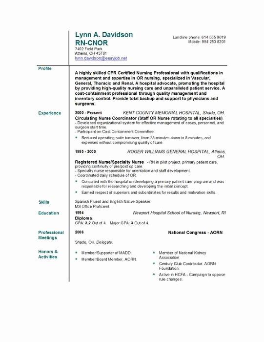 Rn Resume Template Free Best Of Nursing Resume Templates Easyjob