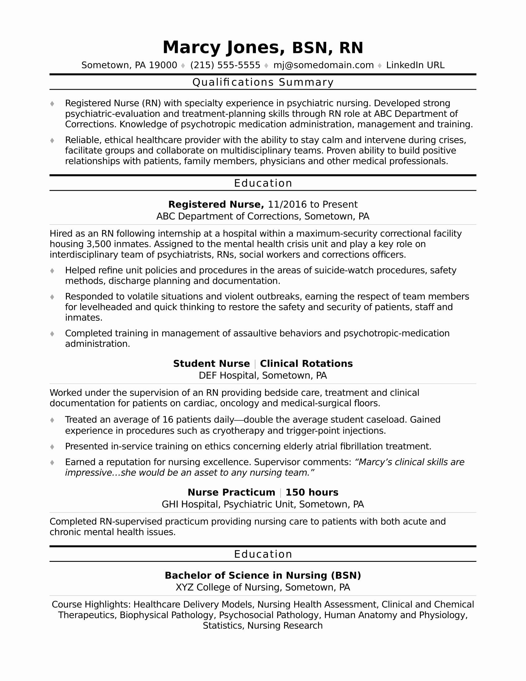 Rn Resume Template Free Luxury Registered Nurse Rn Resume Sample