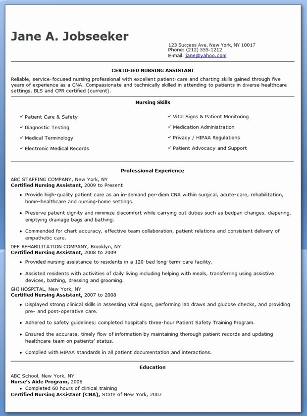 Rn Resume Template Free Unique Free Sample Certified Nursing assistant Resume