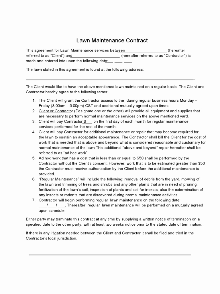 Road Maintenance Agreement Template Inspirational Contract Best Lawn Care Contract Template Lawn Care