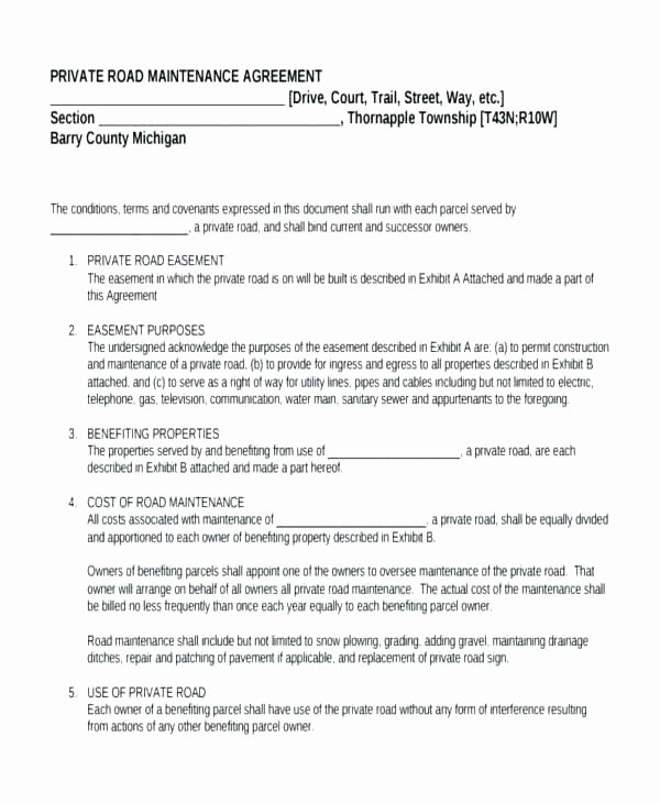 Road Maintenance Agreement Template Inspirational Home Maintenance Contracts – Wlcolombia