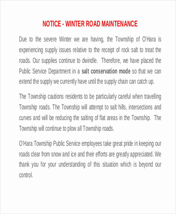 Road Maintenance Agreement Template Lovely 8 Maintenance Notice Templates Free Sample Example