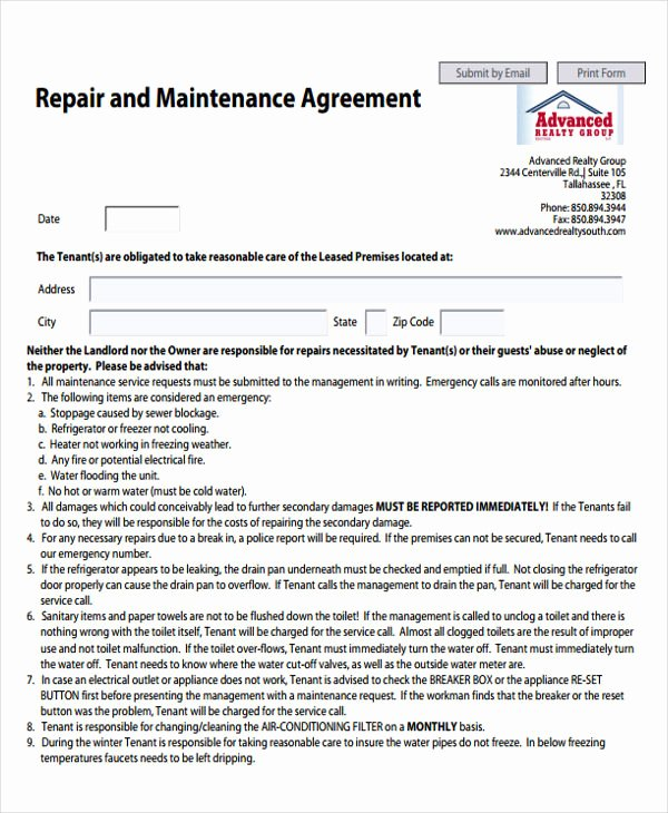 Road Maintenance Agreement Template Luxury Maintenance Agreement Templates 10 Free Word Pdf
