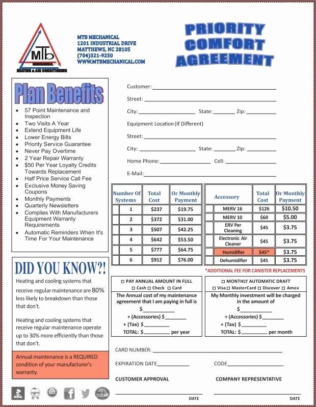 Road Maintenance Agreement Template New 46 Perfect Hvac Preventive Maintenance Agreement Template