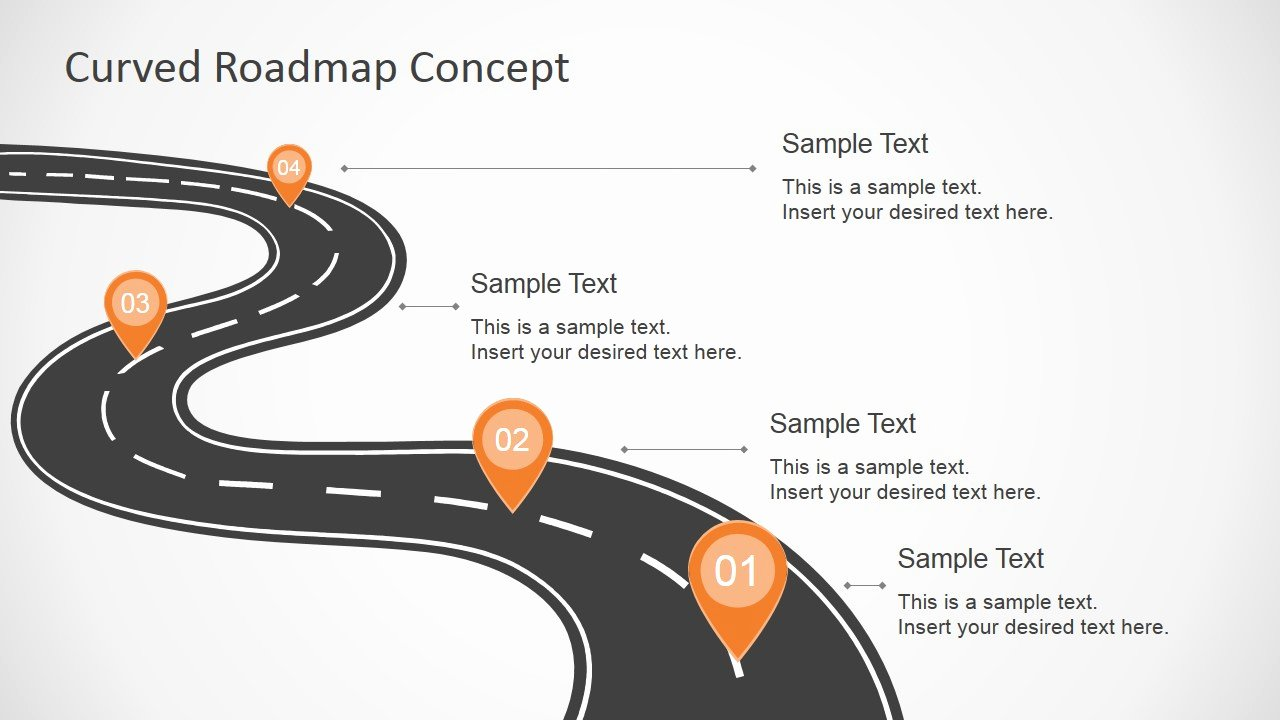 Road Map Powerpoint Template Awesome Curved Road Map Concept for Powerpoint Slidemodel