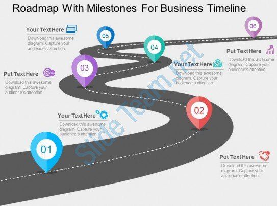Road Map Powerpoint Template Elegant Roadmap with Milestones for Business Timeline Flat