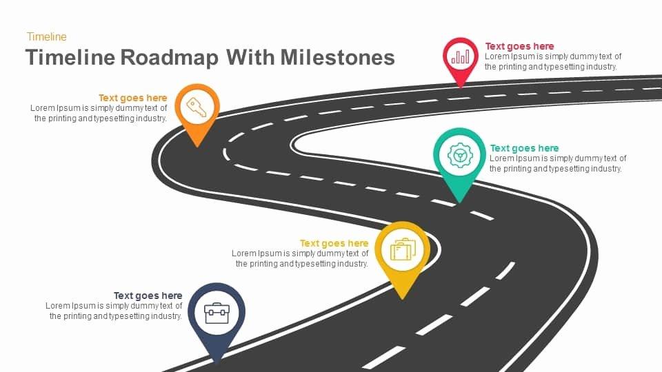 Road Map Powerpoint Template Elegant Timeline Roadmap with Milestones Powerpoint Template and