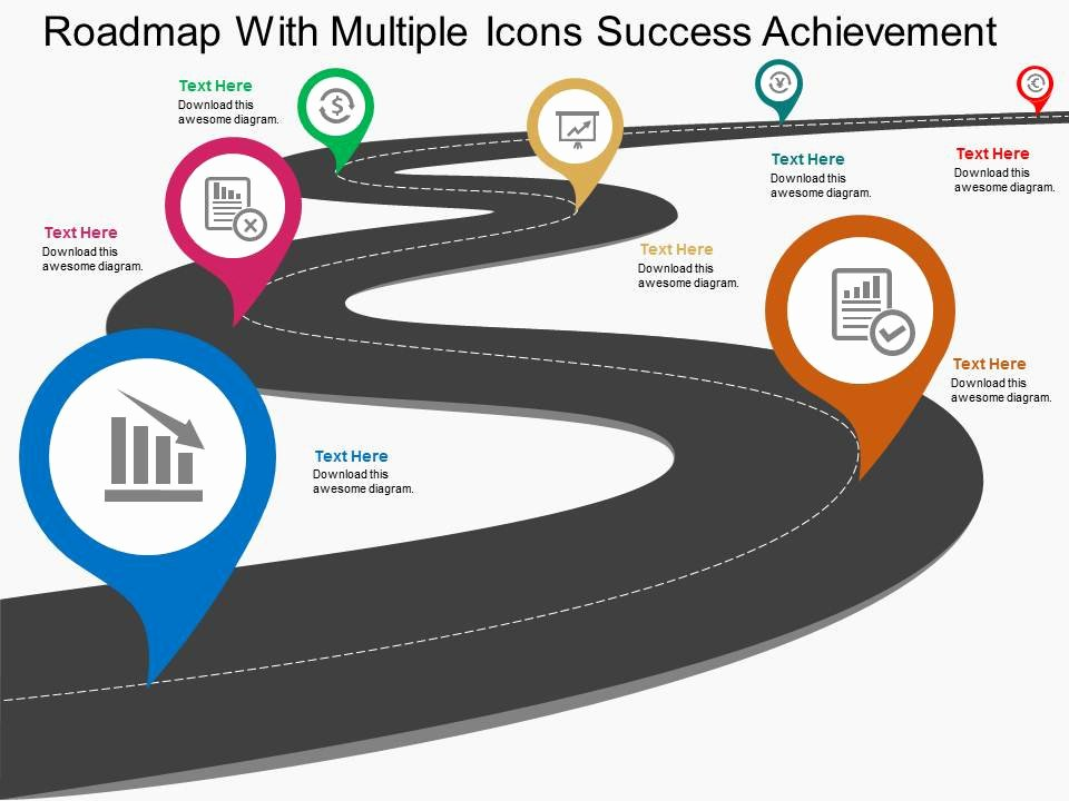 Road Map Powerpoint Template Lovely Roadmap with Multiple Icons Success Achievement Flat