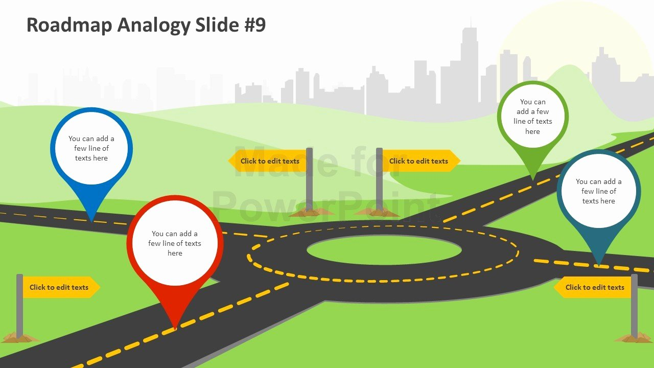 Road Map Powerpoint Template New Roadmap Analogy Editable Powerpoint Slides