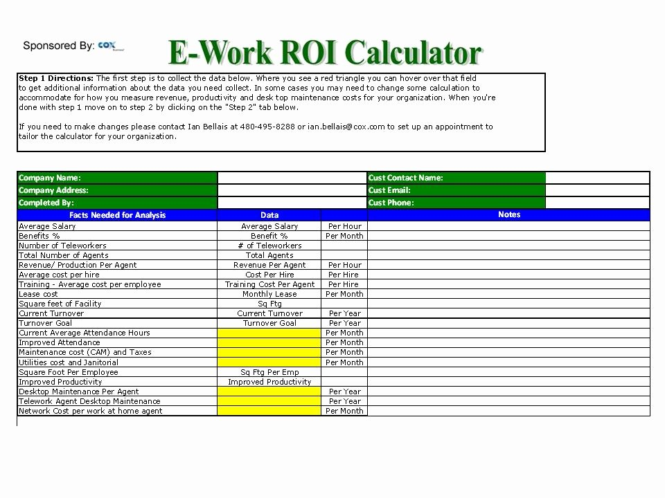"Roi Calculator Excel Template Luxury ""work at Home"" Roi Calculator is now Available – the"