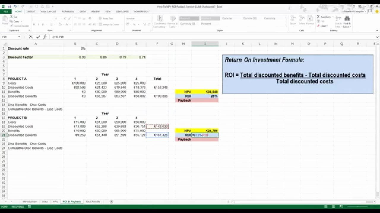 Roi Calculator Excel Template Unique How to Calculate Roi and Payback In Excel 2013