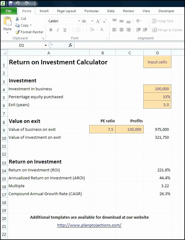 Roi Calculator Excel Template Unique Roi Spreadsheet Template Test Report Template Excel New