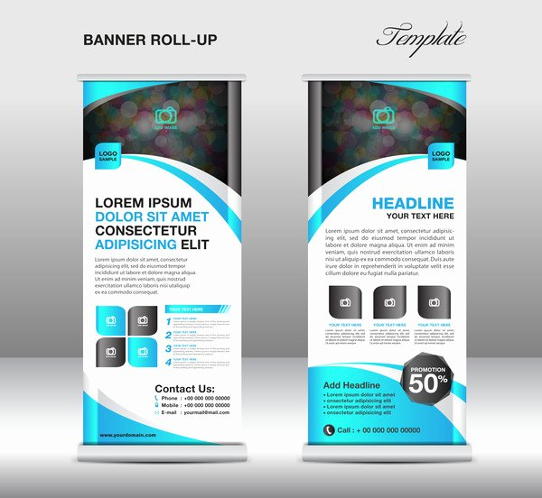 Roll Up Banner Template Best Of Roll Up Banner Stand Template Blue Styles Vector 02 Free