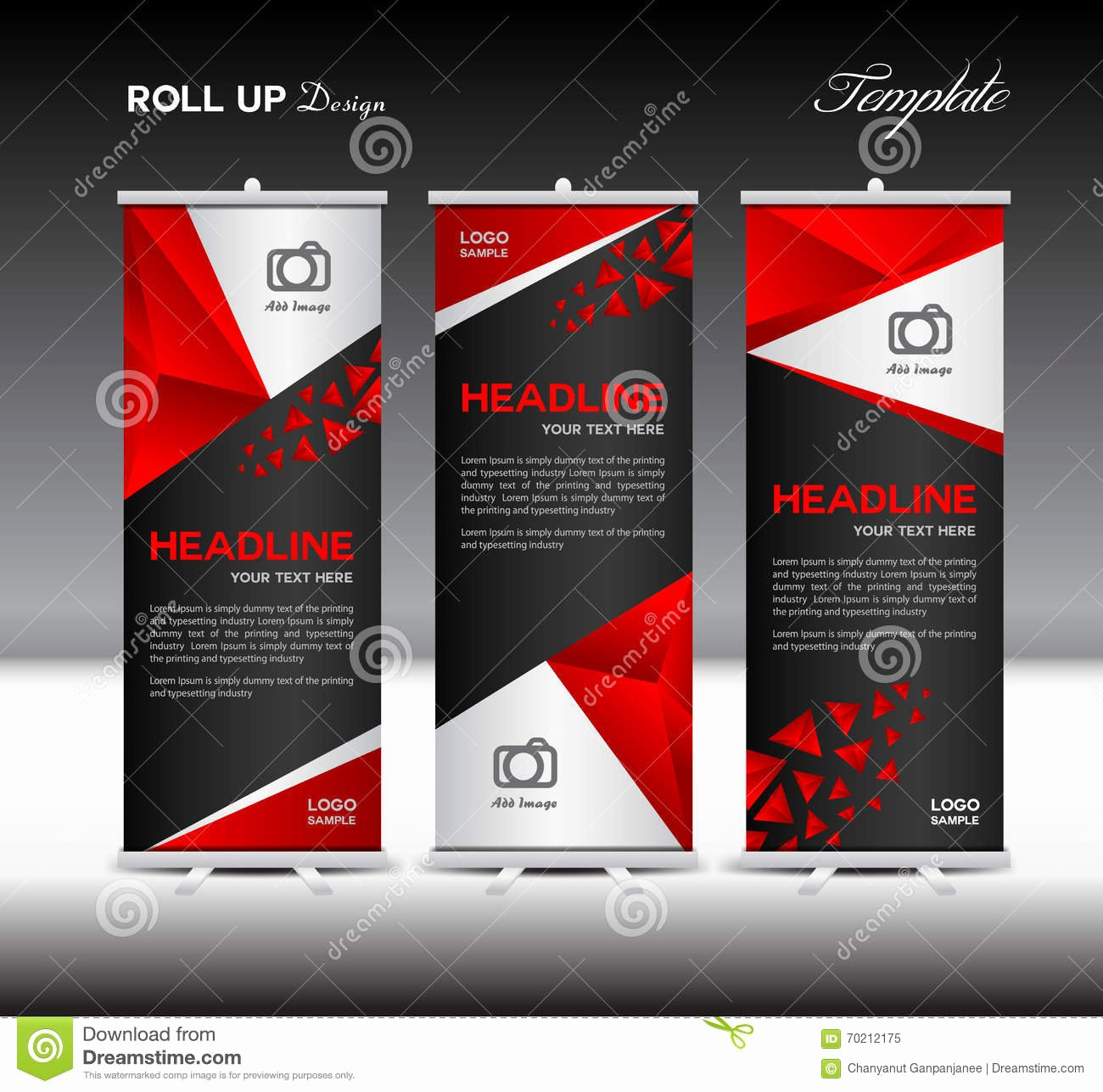 Roll Up Banner Template New Red Roll Up Banner Template Vector Illustration Banner