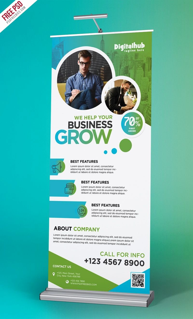 Roll Up Banner Template Unique Business Promotion Roll Up Banner Template Psd