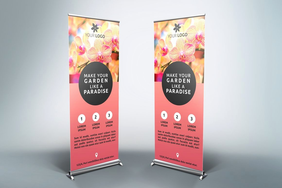 Roll Up Banners Template Awesome Flower Roll Up Banner Sk Flyer Templates Creative Market