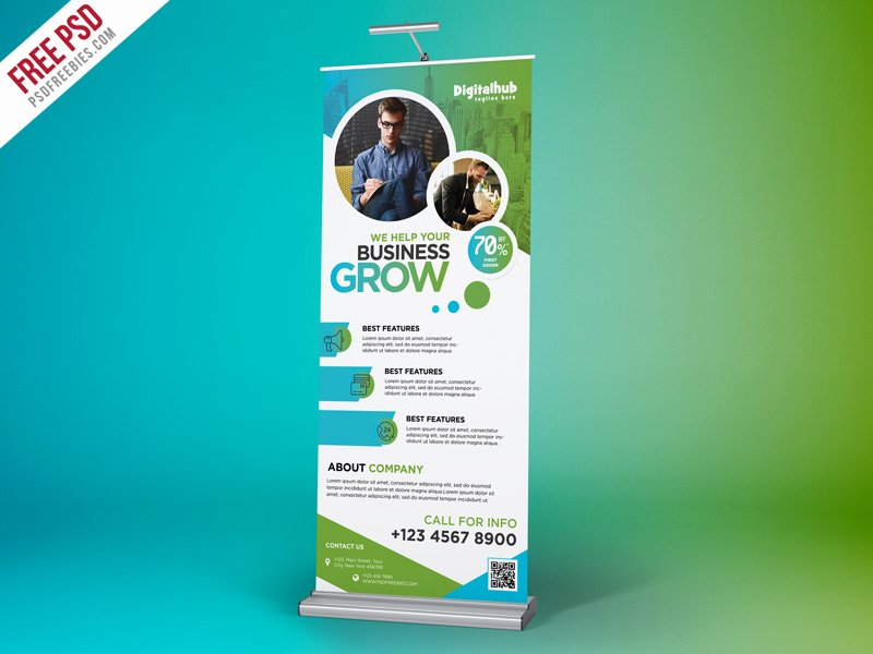 Roll Up Banners Template Beautiful Free Psd Business Promotion Roll Up Banner Template by