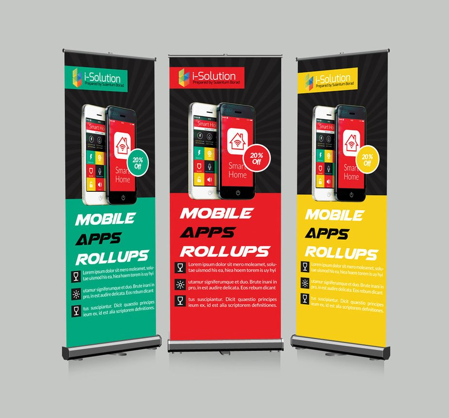 Roll Up Banners Template Beautiful Mobile App Roll Up Banners Template by Designhub719 On