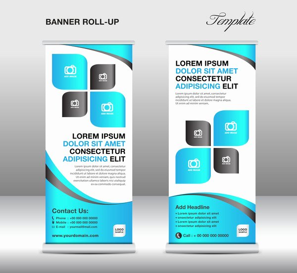 Roll Up Banners Template Lovely Roll Up Banner Stand Template Blue Styles Vector 01 Free