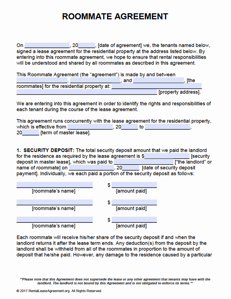 Roommate Agreement Template Free Beautiful Free Roommate Agreement Template form – Adobe Pdf – Ms Word