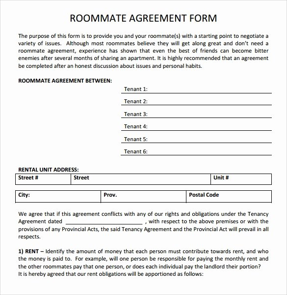Roommate Agreement Template Free Best Of Sample Roommate Agreement Template 15 Free Documents In
